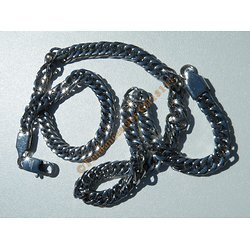 Chaine Collier 46 cm Style Maille Gourmette Argenté Pur Acier Inoxydable Chirurgical 6 mm