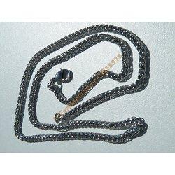 Chaine Collier 50 cm Style Maille Palmier 3D Argenté Pur Acier Inoxydable Chirurgical 3 mm