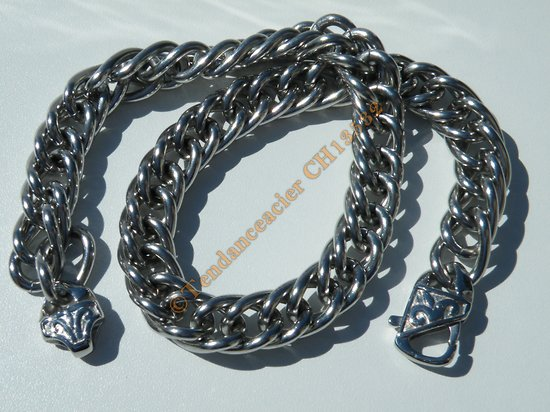 Chaine Collier Massif 45 cm Style Double Maille Fantaisie Gourmette Corde Argenté Pur Acier Inoxydable Chirurgical 14 mm