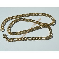 Chaine Collier 50 cm Maille Figaro 1+3 Doré Plaqué Or Pur Acier Inoxydable Chirurgical 7 mm