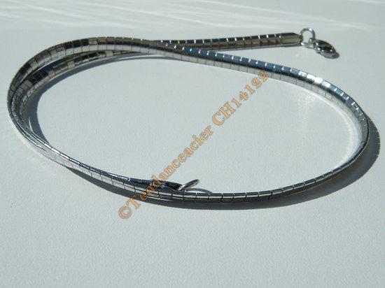 Chaine Collier Ras de Cou 45 cm Maille Omega Serpentine Incurvé Argenté Pur Acier Inoxydable Chirurgical 4 mm