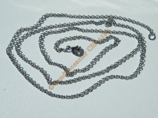 Chaine Collier Long 59 cm Maille Jaseron Argenté Pur Acier Inoxydable Chirurgical 2 mm