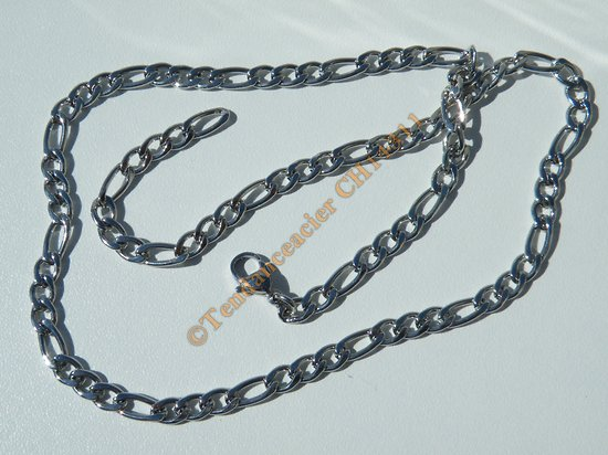 Chaine Collier 49 cm Maille Figaro 1+3 Argenté Pur Acier Inoxydable Chirurgical 4,6 mm