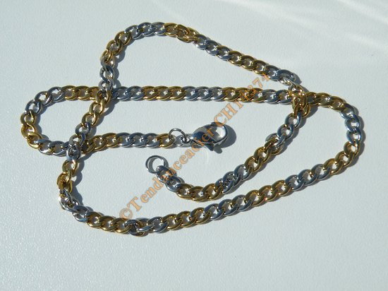 Chaine Collier 40 cm Maille Fantaisie Gourmette Duo Argenté Or Pur Acier Inoxydable Chirurgical 3,9 mm