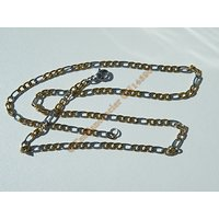 Chaine Collier 44 cm Maille Figaro 1+3 Duo Argenté et Or Pur Acier Inoxydable Chirurgical 3 mm