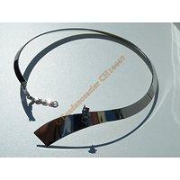 Chaine Collier Ras de Cou 45 cm Incurvé Argenté Cravate Pur Acier Inoxydable Chirurgical Gala Soirée