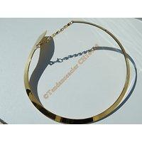 Chaine Collier Ras de Cou 45 cm Incurvé Doré Plaqué Or Cravate Pur Acier Inoxydable Chirurgical Gala Soirée