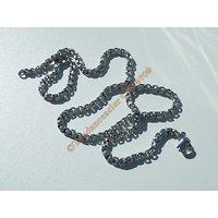Chaine Collier 45 cm Style Maille Forçat Torsadé 3D Argenté Pur Acier Inoxydable Chirurgical 3,6 mm