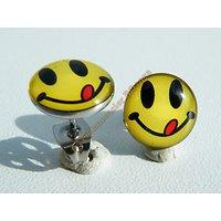 Boucles d'Oreilles Acier Inoxydable Clous Smileys Emoticones Jaune Noir