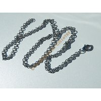 Chaine Collier 45 cm Style Maille Jaseron Argenté Pur Acier Inoxydable Chirurgical 4 mm