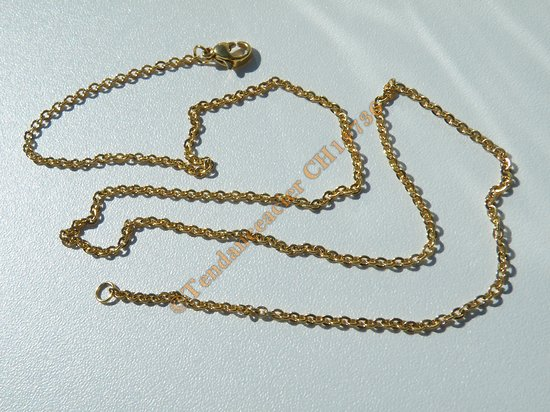 Chaine Collier 50 cm Style Maille Jaseron Doré Plaqué Or Pur Acier Inoxydable Chirurgical 2 mm