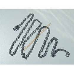 Chaine Collier 50 cm Style Maille Jaseron Argenté Pur Acier Inoxydable  Chirurgical 2 mm