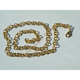 Chaine Collier 45 cm Maille Jaseron Rond Alterné Fantaisie Doré Plaqué Or Pur Acier Inoxydable Chirurgical 6 mm
