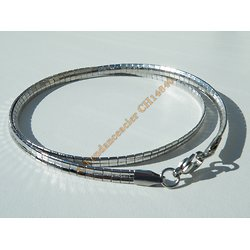 Chaine Collier Ras de Cou 45 cm Maille Omega Point Incurvé Argenté Pur Acier Inoxydable Chirurgical 4 mm