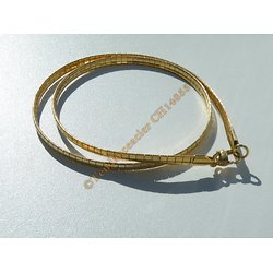 Chaine Collier Ras de Cou 45 cm Maille Omega Point Incurvé Doré Plaqué Or Pur Acier Inoxydable Chirurgical 4 mm
