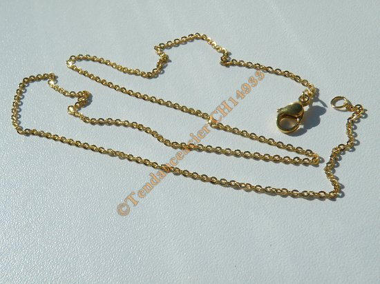 Chaine Collier 45 cm Style Maille Jaseron Doré Plaqué Or Pur Acier Inoxydable Chirurgical 1,5 mm