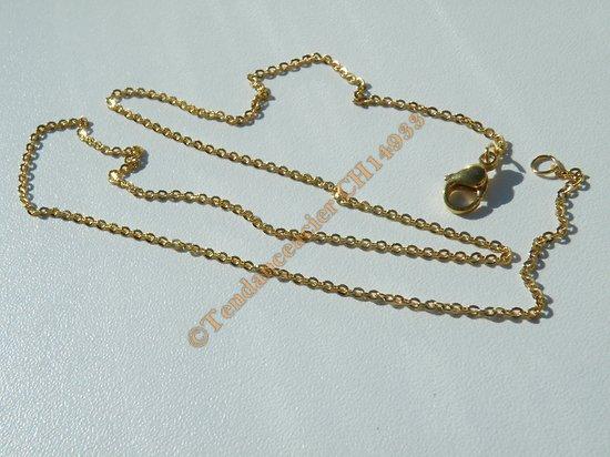 Chaine Collier 50 cm Style Maille Jaseron Doré Plaqué Or Acier Inoxydable 1,5 mm