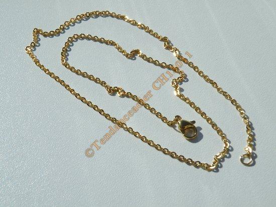 Chaine Collier Courte 45 cm Style Maille Jaseron Doré Plaqué Or Pur Acier Inoxydable Chirurgical 2 mm
