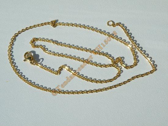 Chaine Collier Courte 51 cm Style Maille Jaseron Doré Plaqué Or Pur Acier Inoxydable Chirurgical 2 mm