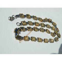 Chaine Collier 56 cm Maille Jaseron Fantaisie Triple Duo Argenté Or Pur Acier Inoxydable Chirurgical 11 mm