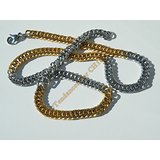 Chaine Collier 55 cm Maille Fantaisie Gourmette Duo Argenté Or Pur Acier Inoxydable Chirurgical 7 mm