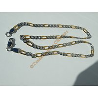 Chaine Collier 56 cm Maille Figaro 1+3 Duo Argenté et Or Pur Acier Inoxydable Chirurgical 5 mm