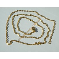 Chaine Collier 59 cm Style Maille Jaseron Doré Plaqué Or Pur Acier Inoxydable Chirurgical 2,2 mm