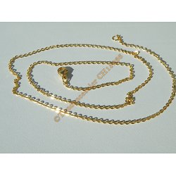 Chaine Collier 50 cm Style Maille Jaseron Doré Plaqué Or Pur Acier Inoxydable Chirurgical 1,5 mm