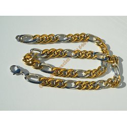 Chaine Collier 60 cm Maille Figaro 1+3 Duo Argenté et Or Pur Acier Inoxydable  Chirurgical 11 mm