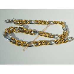 Chaine Collier 49 cm Maille Figaro 1+3 Duo Argenté et Or Pur Acier Inoxydable  Chirurgical 11 mm