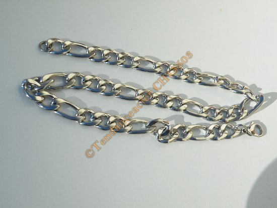 Chaine Collier 50 cm Maille Figaro 1+3 Duo Argenté Pur Acier Inoxydable  Chirurgical 12 mm
