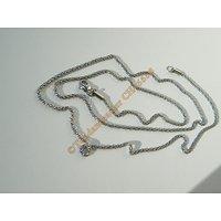 Chaine Collier Long 71 cm Style Maille Palmier 3D Argenté Pur Acier Inoxydable Chirurgical 2 mm