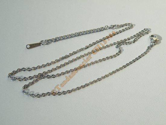 Chaine Collier 45 à 52 cm Style Maille Jaseron Argenté Pur Acier Inoxydable  Chirurgical 2 mm