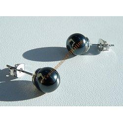 Boucles d'Oreilles Clous Boules Perles Hématite 8 mm Pierre Minérale Litothérapie