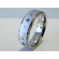 Bague Pur Acier Inox Inoxydable Chirurgical Argenté 7 mm Constellation Etoiles Noires