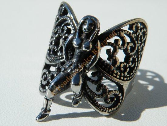 Bague Pur Acier Inoxydable Chirurgical Argenté Fantasy Fée Papillon Ailes Anges Fille Femme