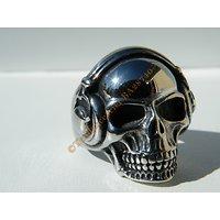 Bague Chevalière Pur Acier Inoxydable Chirurgical Argenté Skull Tete De Mort Casque DJ Gothique