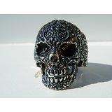 Bague Chevalière Pur Acier Inoxydable Chirurgical Argenté Skull Tete De Mort Crane Vintage Biker Hard Rock Gothique