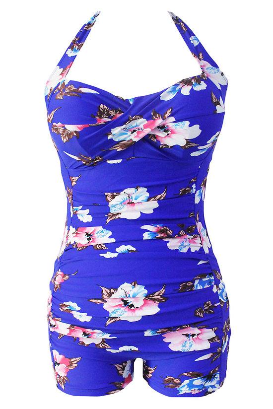 Maillot de bain Imprimé floral bleu vintage Halter gaine XL grande taille