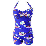 Maillot de bain Imprimé floral bleu vintage Halter gaine XL grande taille