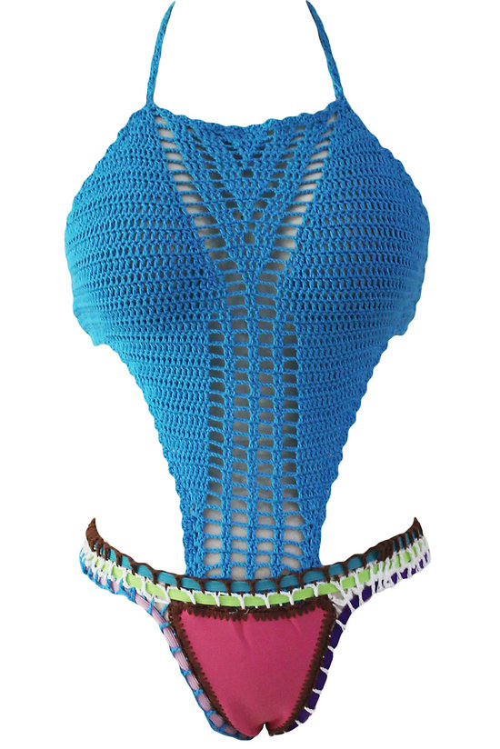 Maillot de bain Bleu Crochet Corsage Rosy néoprène Bottom Monokini XL