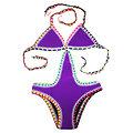 Maillot de bain 1 pièce Violet mauve Crochet Néoprène grande taille XL
