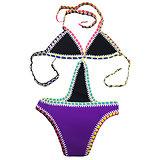 Maillot de bain 1 pièce Violet mauve Crochet Néoprène grande taille XXL
