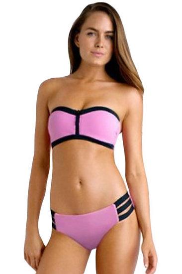 Maillot de bain bandeau souple Rose Bustier Push Up Bikini XL