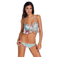 Maillot de bain bleu turquoise et Floral volanté Bikini bandeau XL