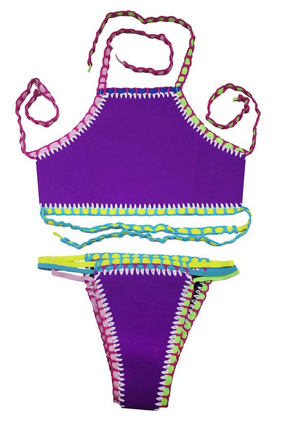 Maillot de bain  2 pieces Crochet néoprène Tankini Violet Mauve XL