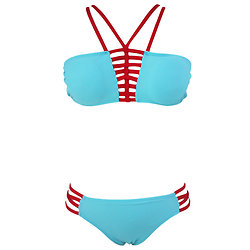 Maillot de bain 2 pieces Strap Bandeau Bikini bleu clair XL