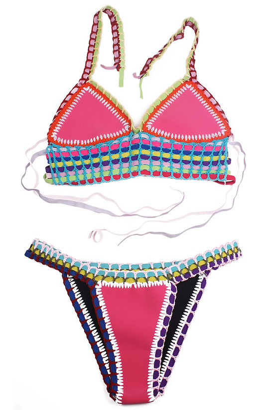 Maillot de bain 2 pieces Bikini pérou  Multicolore Crochet Rose Bleu Néoprène XL