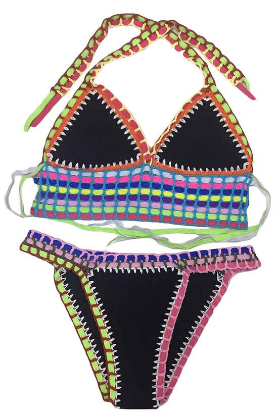 Maillot de bain 2 pieces bikini Multicolore Crochet Noir néoprène XL