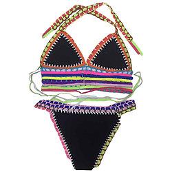 Maillot de bain 2 pieces bikini Multicolore Crochet Noir néoprène XXL